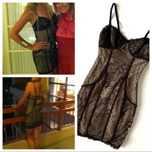 Bebe Lace Black & Nude Dress Cut Out Back Padded S